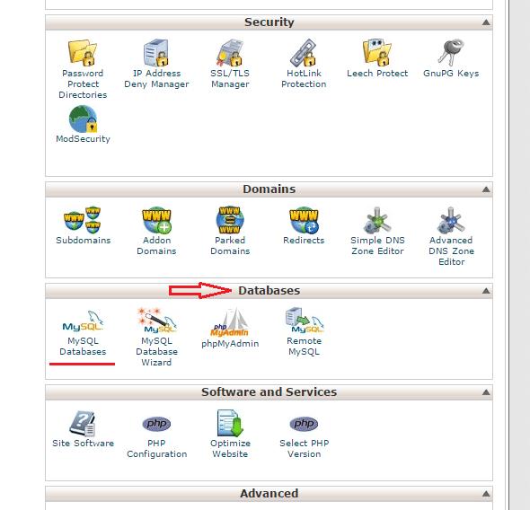 پایگاه داده در سی پنل