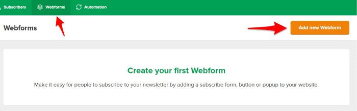 ایجاد فرم دریافت ایمیل